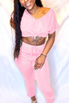 Fashion Casual Short Sleeve Top Pink Pants Two-piece Set