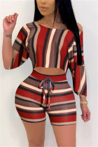 Fashion Sexy Striped Printed Deep Red Two-piece Set