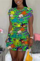 Sexy Fashion Printed Green Short-sleeved T-shirt Skirt Set