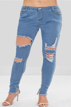 Fashion Casual Light Blue Skinny Ripped Jeans
