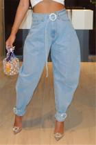 Fashion Casual High Waist Light Blue Denim Trousers