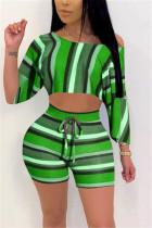 Fashion Sexy Striped Printed Green Two-piece Set
