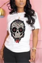 Fashion Casual Print White Short Sleeve T-shirt