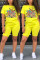 Fashion Casual Cartoon Printed T-shirt Yellow Shorts Set