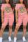 Fashion Casual Cartoon Printed T-shirt Pink Shorts Set