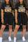 Fashion Casual Cartoon Printed T-shirt Black Shorts Set
