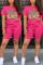 Fashion Casual Cartoon Printed T-shirt Rose Red Shorts Set