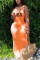Fashion Letter Printed Orange Sleeveless Long Dress