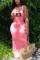 Fashion Letter Printed Pink Sleeveless Long Dress