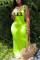 Fashion Letter Printed Fluorescent Green Sleeveless Long Dress