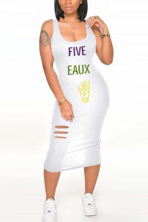 Fashion Sexy Printed White Sleeveless Dress