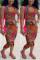 Fashion Sexy Printed Sleeveless Top Red Skirt Set