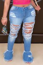 Fashion Large Size Dark Blue Broken Hole Denim Trousers