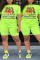 Fashion Casual Printed Fluorescent Green Short Sleeve Plus Size Set