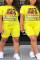 Fashion Casual Printed Yellow Short Sleeve Plus Size Set