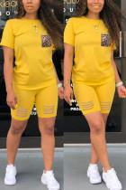 Fashion Casual Leopard Print Pocket Yellow Set