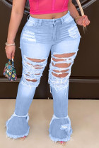 Fashion Large Size Light Blue Broken Hole Denim Trousers