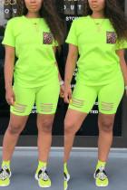 Fashion Casual Leopard Print Pocket Fluorescent Green Set