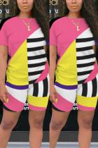 Fashion Printed T-shirt Shorts Pink Casual Set