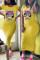 Fashion Cartoon Print Yellow Short Sleeve Dress