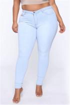 Fashion Plus Size Light Blue Skinny Denim Trousers
