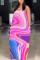 Sexy Tie-dye Printed Pink Sling Loose Dress