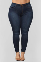 Fashion Plus Size Dark Blue Skinny Denim Trousers
