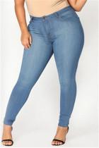 Fashion Plus Size Medium Blue Skinny Denim Trousers