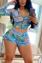 Fashion Print Zipper Tops Shorts Cyan Set