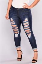Fashion Casual Plus Size Blue Denim Trousers