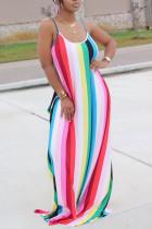 Fashion Casual Striped Pink Sleeveless Loose Dress
