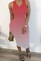 Fashion Gradient Print Red Sleeveless Dress