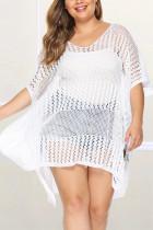 Fashion Sexy Plus Size White Beach Blouse