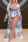 Sexy Fashion Print Blue Long Sleeve Cover Up Swimsuit Set