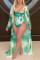 Sexy Fashion Print Green Long Sleeve Cover Up Swimsuit Set