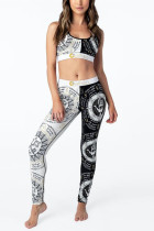 Fashion Sexy Printed Black White Trouser Set