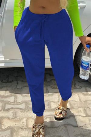 Fashion Casual Mid Waist Dark Blue Trousers
