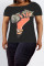 Fashion Sexy Printed Black Short Sleeve Diagonal Shoulder T-shirt