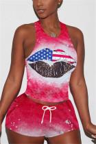 Fashion Print Sleeveless Top Shorts Red Set