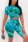 Fashion Casual Printed Green Short Sleeve Top Set