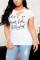 Fashion Casual Printed White Short-sleeved T-shirt