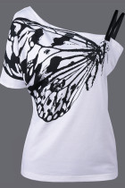 Fashion Plus Size Printed White Off Shoulder Top