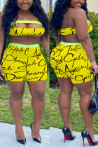 Sexy Printed Strapless Top Shorts Yellow Set