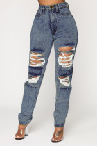Sexy Fashion Gray Blue Plus Size Ripped Jeans
