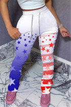 Fashion Casual Printed White Slim Trousers