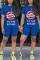 Fashion Casual Lips Print T-shirt Blue Shorts Set