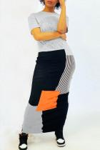 Fashion Short Sleeve Gray Patchwork Long Dress