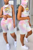Fashion Print Sleeveless Top Shorts Pink Set