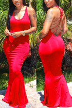 Sexy Backless Red Sleeveless Long Dress
