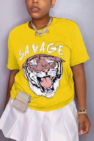 Fashion Casual Printed Yellow Short Sleeve T-shirt